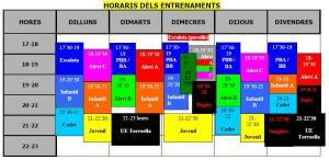 HORARIS ENTRENAMENTS 2013/2014
